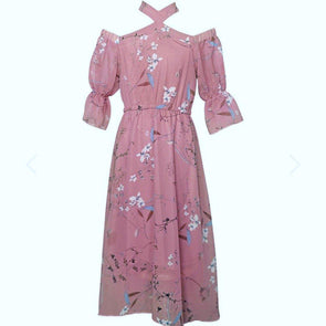 PENELOPE BELL SLEEVE MAXI DRESS - DUSTY ROSE - Honey Beez