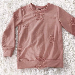 Distressed Lounge Top *Mauve