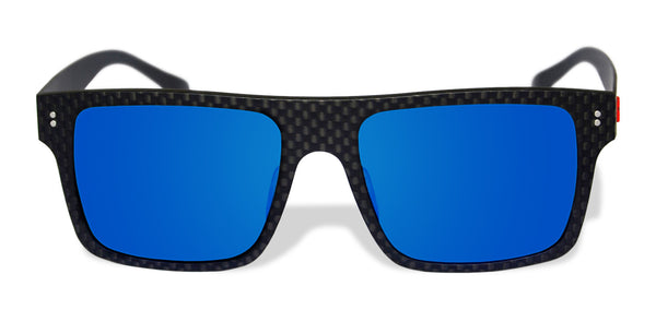 Carbon Fiber Sunglasses with Polarized Lens (Dark Flat Top, Mirrored Blue Lens)