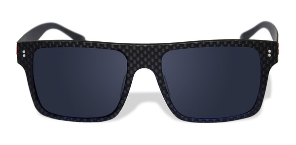 Carbon Fiber Sunglasses with Polarized Lens (Dark Flat Top, Dark Tint Lens)