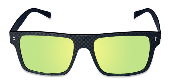 Carbon Fiber Sunglasses with Polarized Lens (Dark Flat Top, Mirrored Yellow-Green Lens)