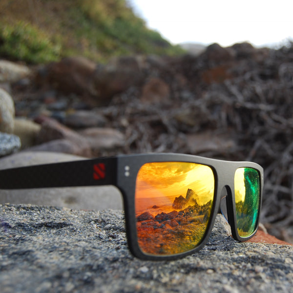 Carbon Fiber Sunglasses with Polarized Lens (Dark Flat Top, Mirrored Red-Orange Lens)