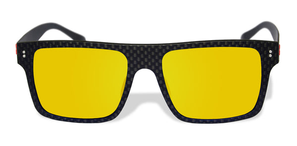 Carbon Fiber Sunglasses with Polarized Lens (Dark Flat Top, Mirrored Yellow-Orange Lens)
