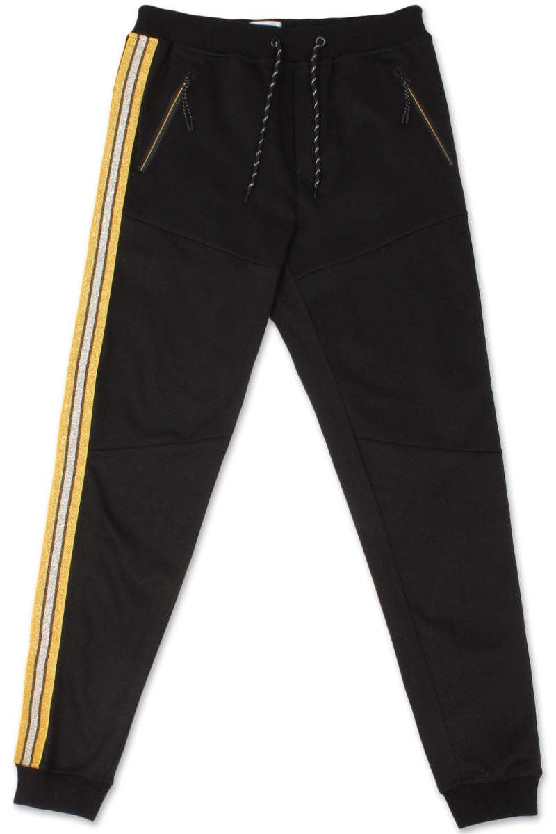 Track Pants Side Metallic Stripe (Black Gold)