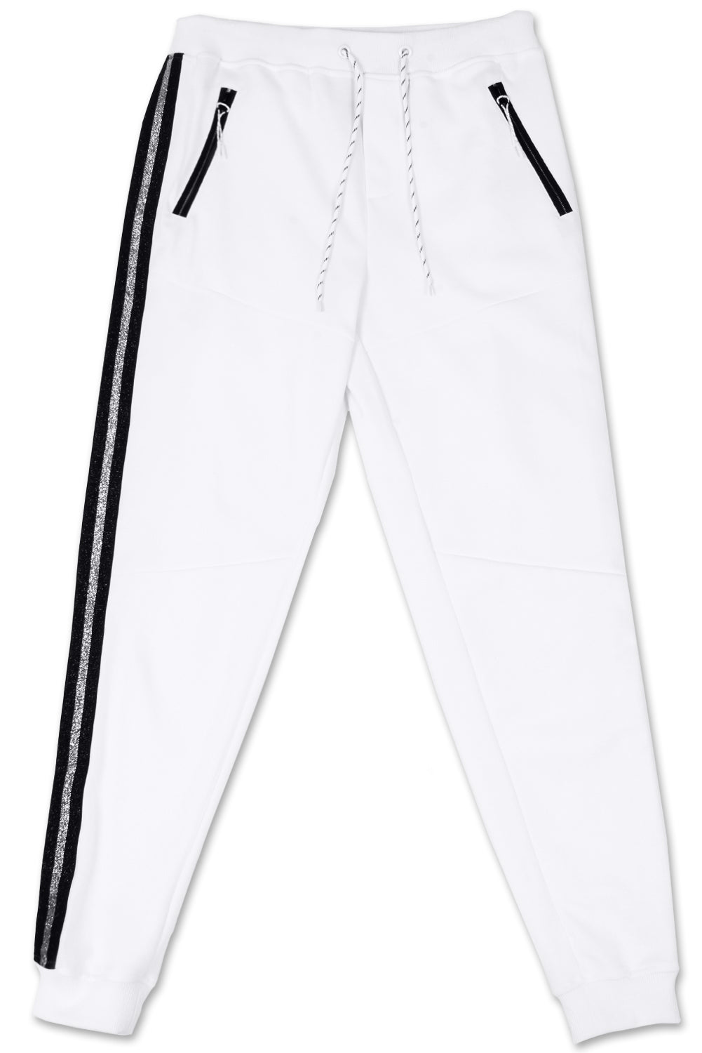 Track Pants Side Metallic Stripe (White Black)