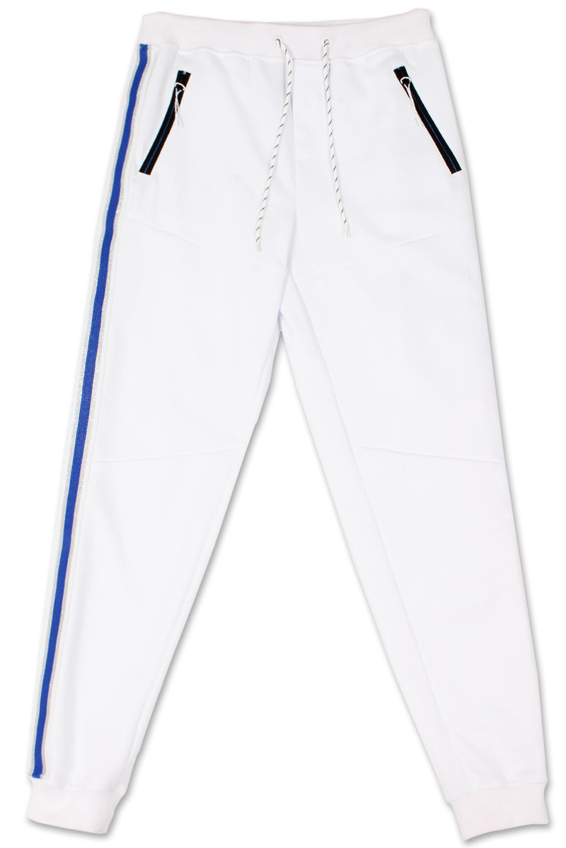 Track Pants Side Metallic Stripe (White Blue)