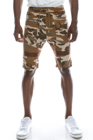 Tape Accent Camo Twill Shorts (2 Colors)
