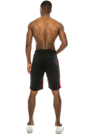 Track Shorts Side Stripes (Black Fuschia)