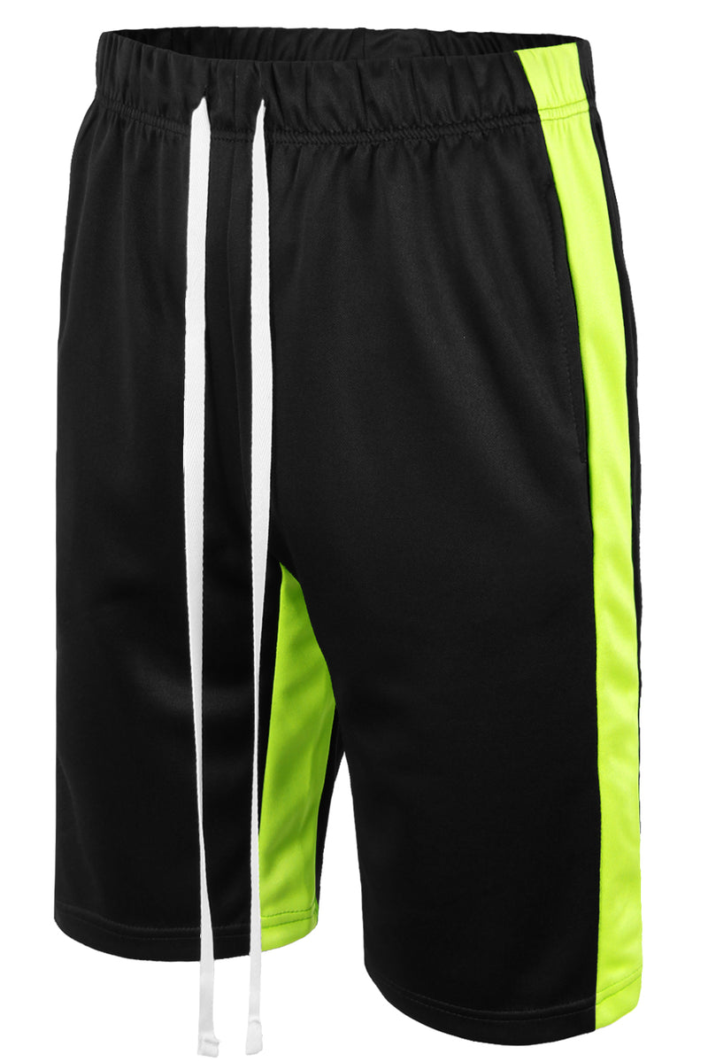Track Shorts Side Stripes (Black Lime)