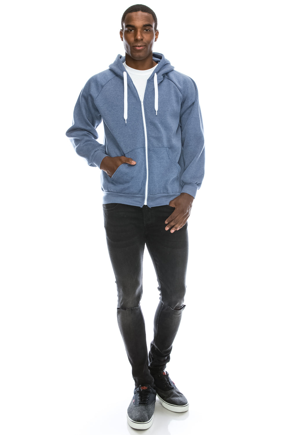 Melange Fleece Hoodie Jacket (Blue)