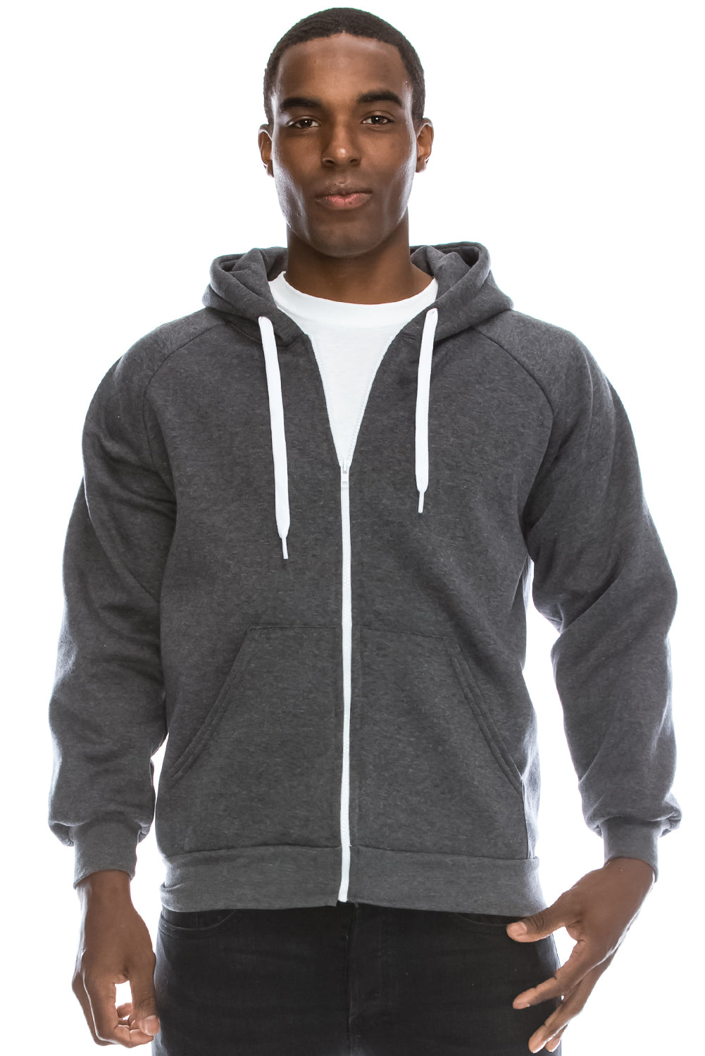 Melange Fleece Hoodie Jacket (Charcoal)