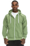 Melange Fleece Hoodie Jacket (Green)