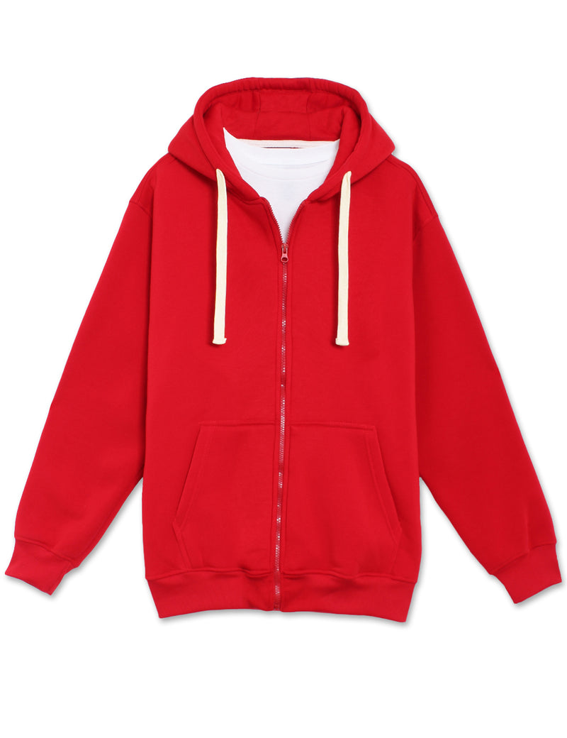 Fleece Zip Up Hoodie (Red)