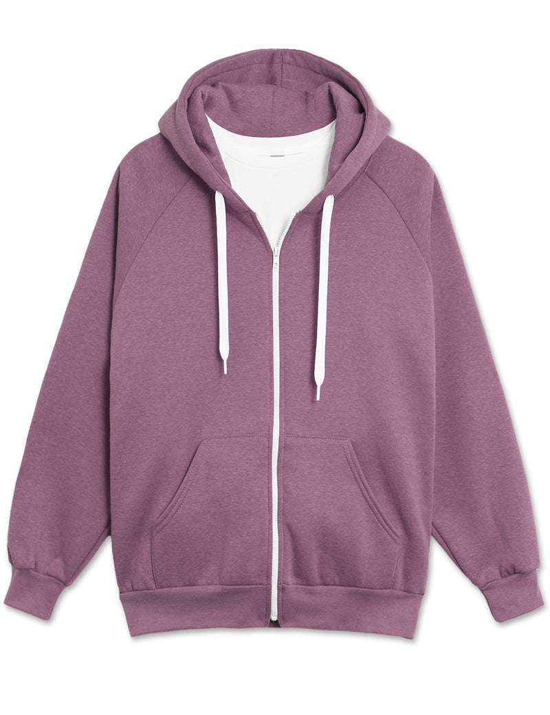 Melange Fleece Hoodie Jacket (Purple)