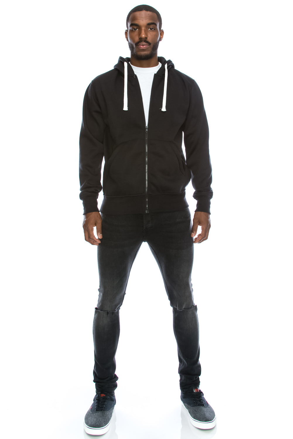 Fleece Zip Up Hoodie (Black)