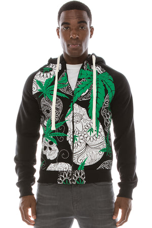 Cannabis Leaves & Calavera Hoodies