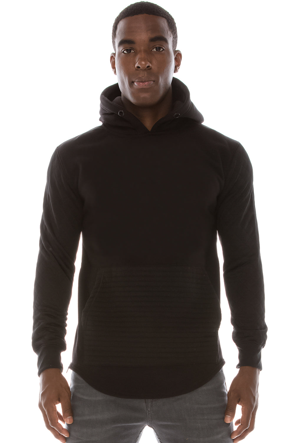 Scallop Cut Quilted Fleece Hoodie