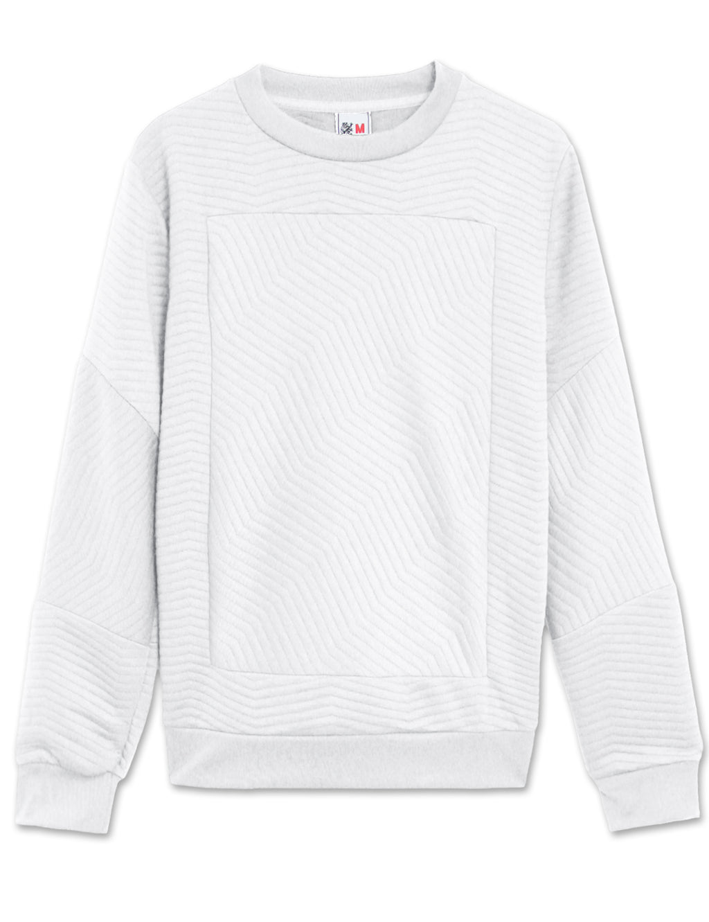 Quilted Sweatshirt with Side Zippers (White)