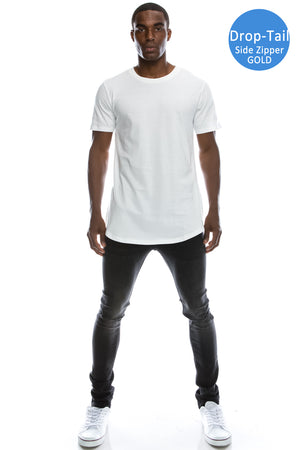 Skater Long Length Crewneck T-shirts (White)