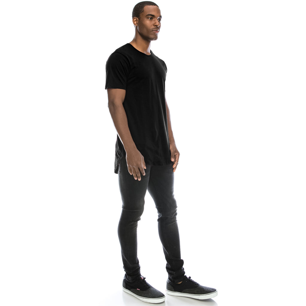 Drop Cut Longline T-Shirt - Black
