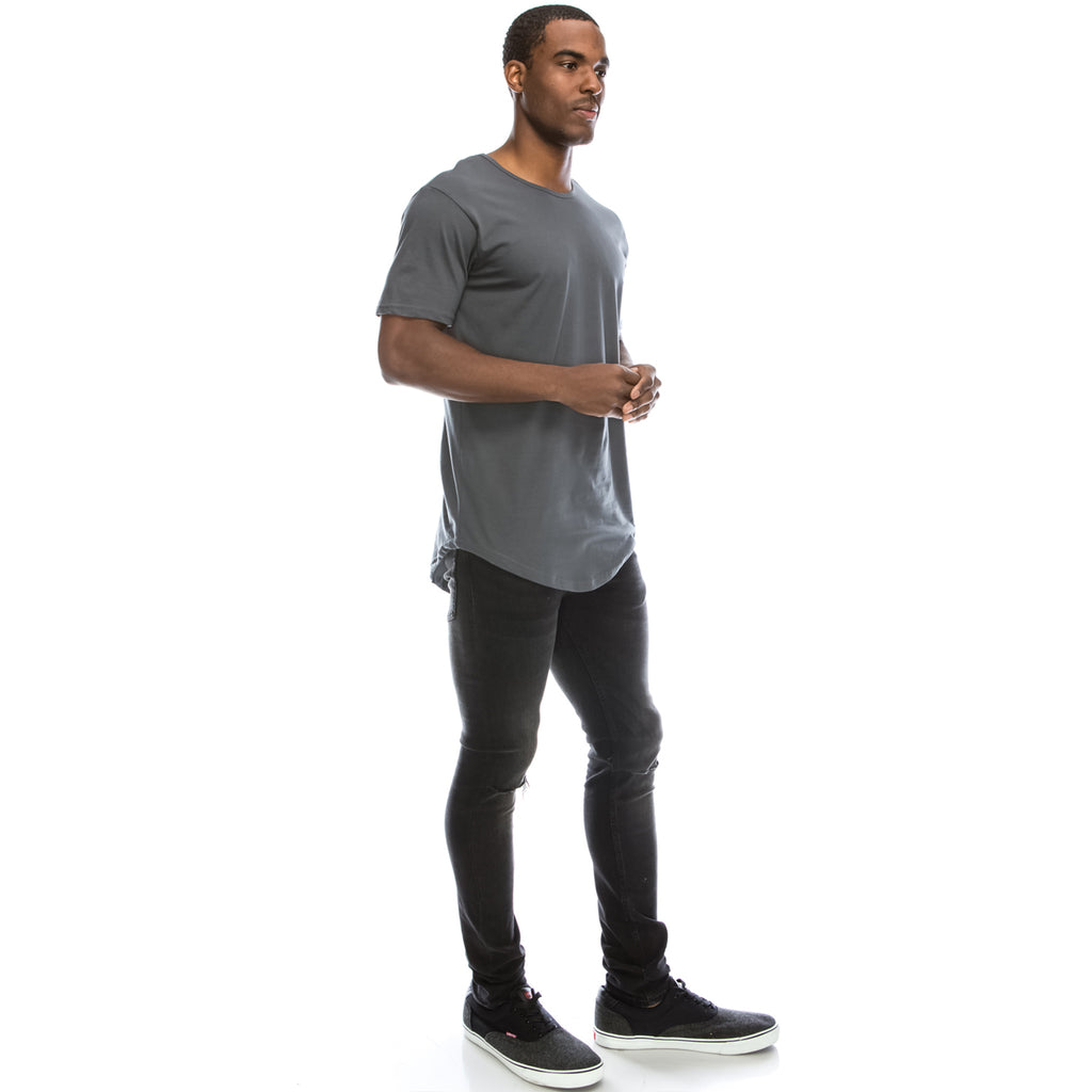 Drop Cut Longline T-Shirt - Coolgrey