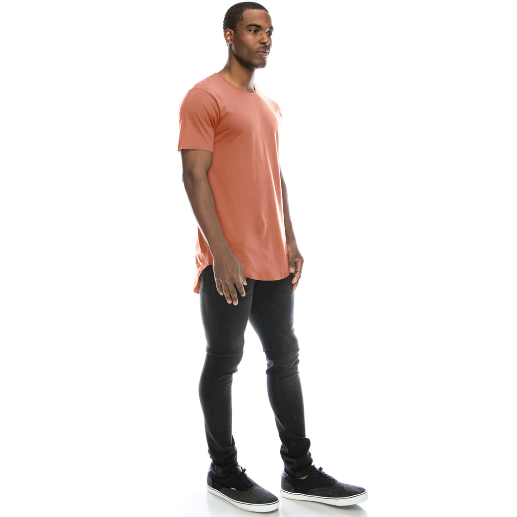 Drop Cut Longline T-Shirt - Dusty Pink