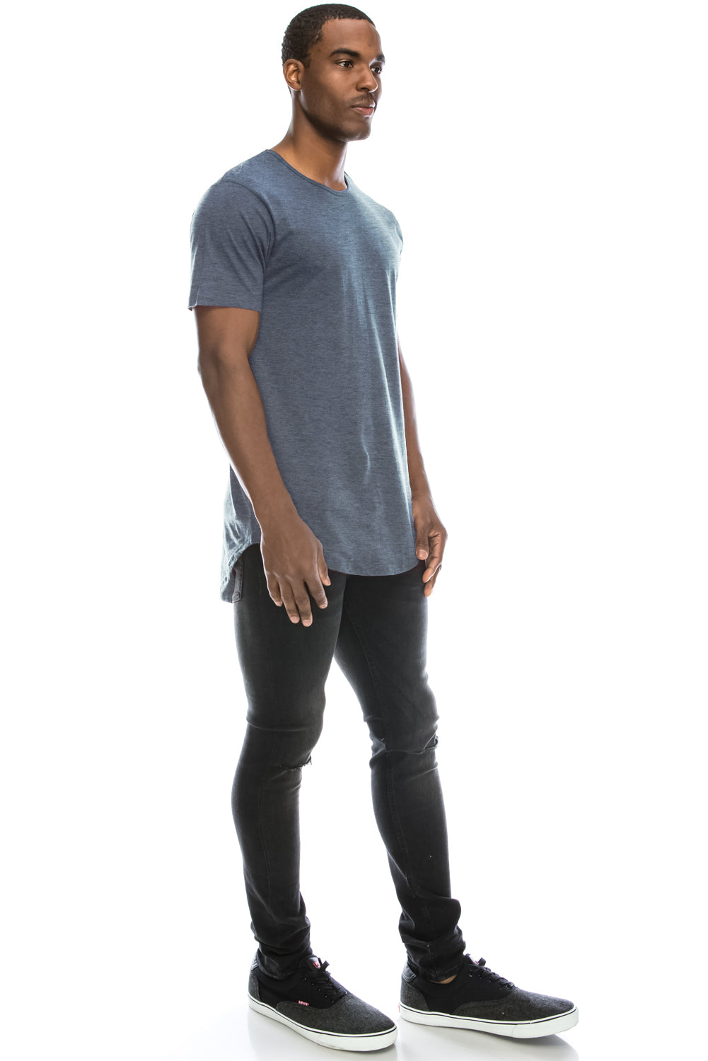 Drop Cut Longline T-Shirt - Dusty Blue