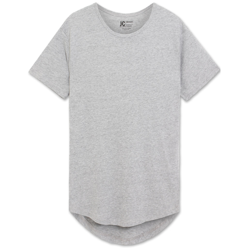 Drop Cut Longline T-Shirt - Grey