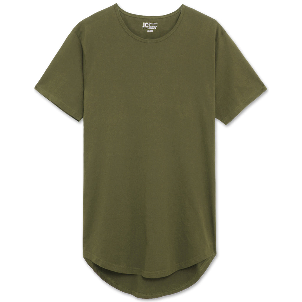 Drop Cut Longline T-Shirt - Military Green