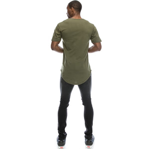 Elong Longline Crewneck Military Green T-shirt