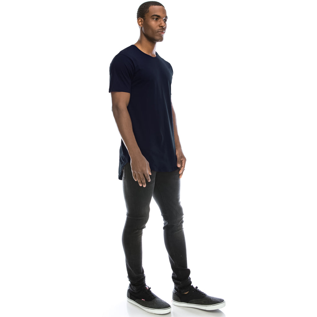 Drop Cut Longline T-Shirt - Navy