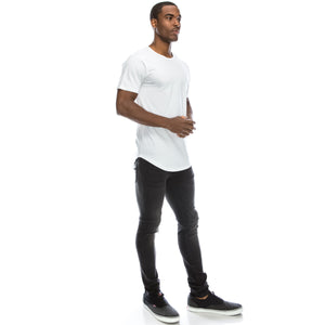 Drop-Cut Longline Crewneck T-shirts (10 Colors)