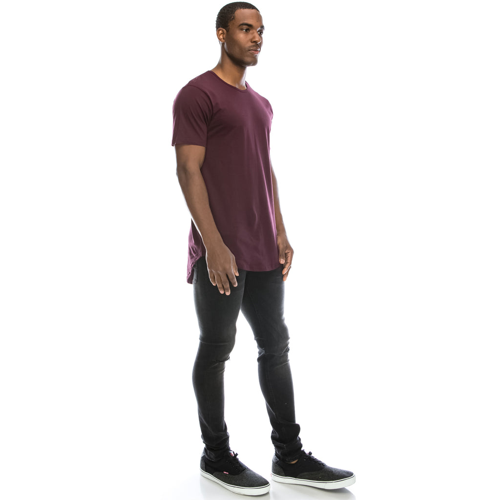 Drop Cut Longline T-Shirt - Wine