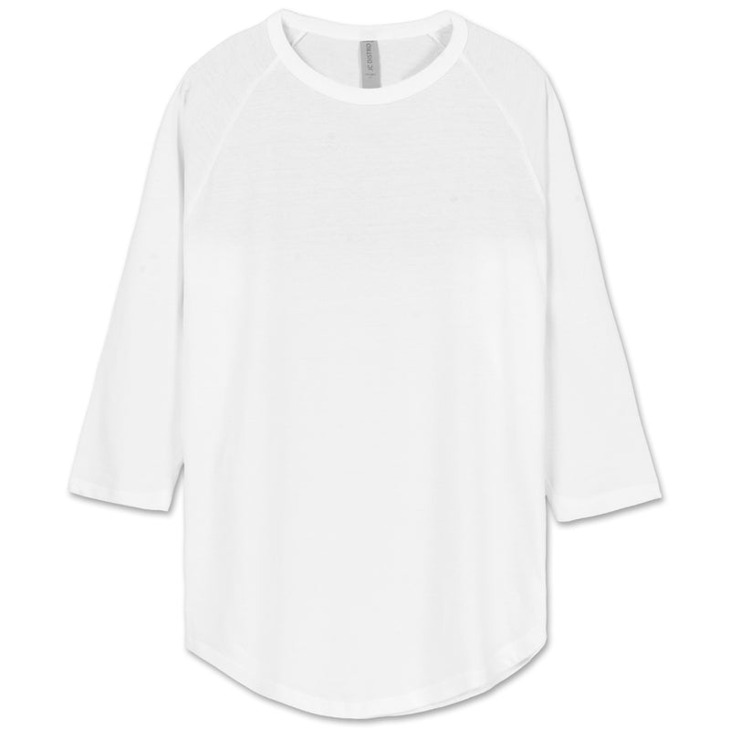 All-White Raglan Baseball Jersey T-Shirt