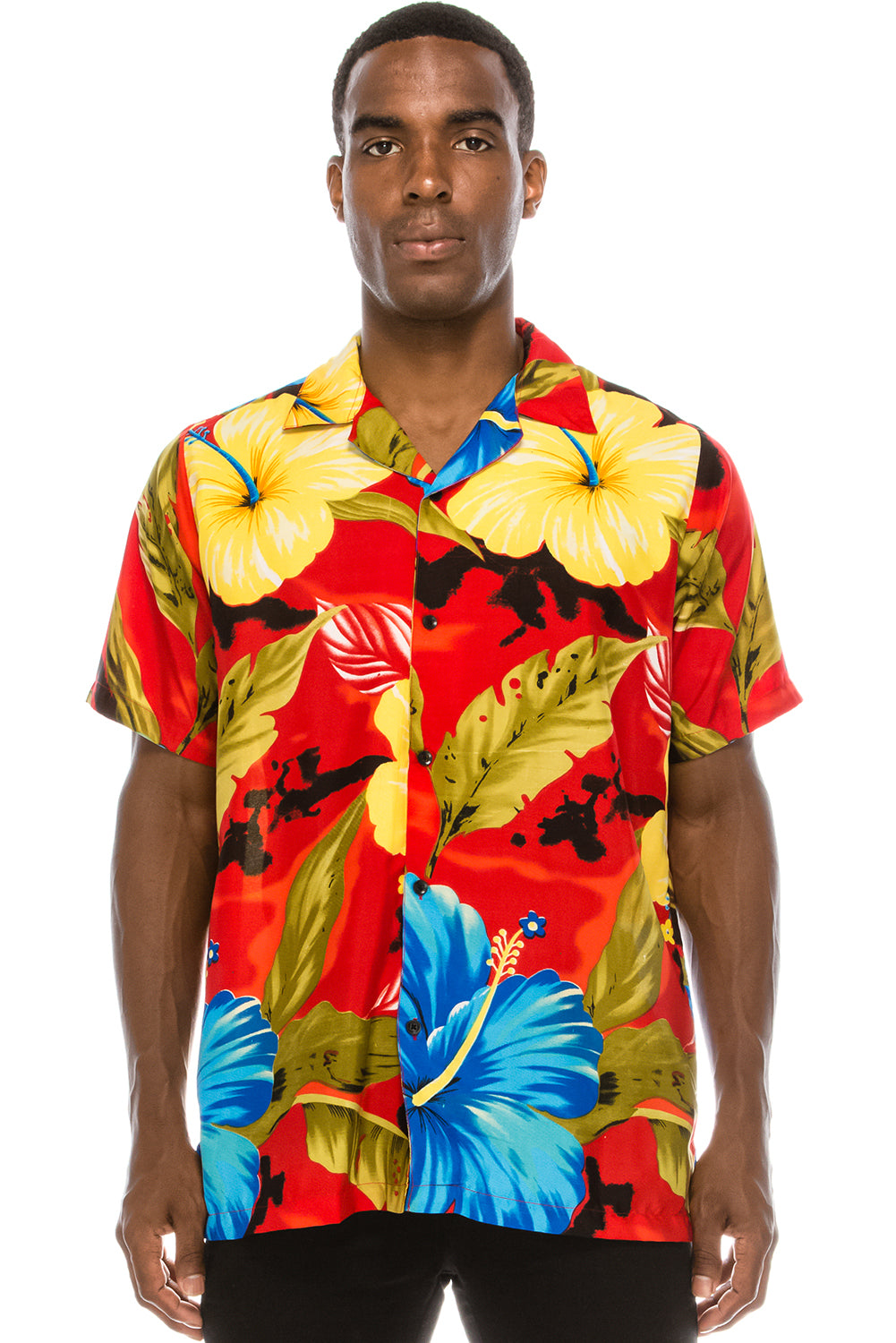 Floral Hawaiian Shirt (Floral Red)