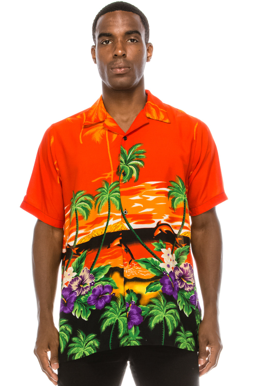 Sunset Beach Hawaiian Shirt (Orange)