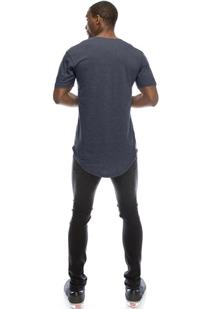 Drop-Cut Longline Soft-Fabric T-shirt