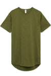 Soft-Fabric Scallop Hem T-shirt (Olive)