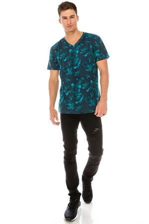 Hawaiian Floral V-Neck T-Shirt (3 Colors)