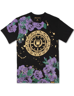 Floral Paint Splattered T-Shirt (Purple)