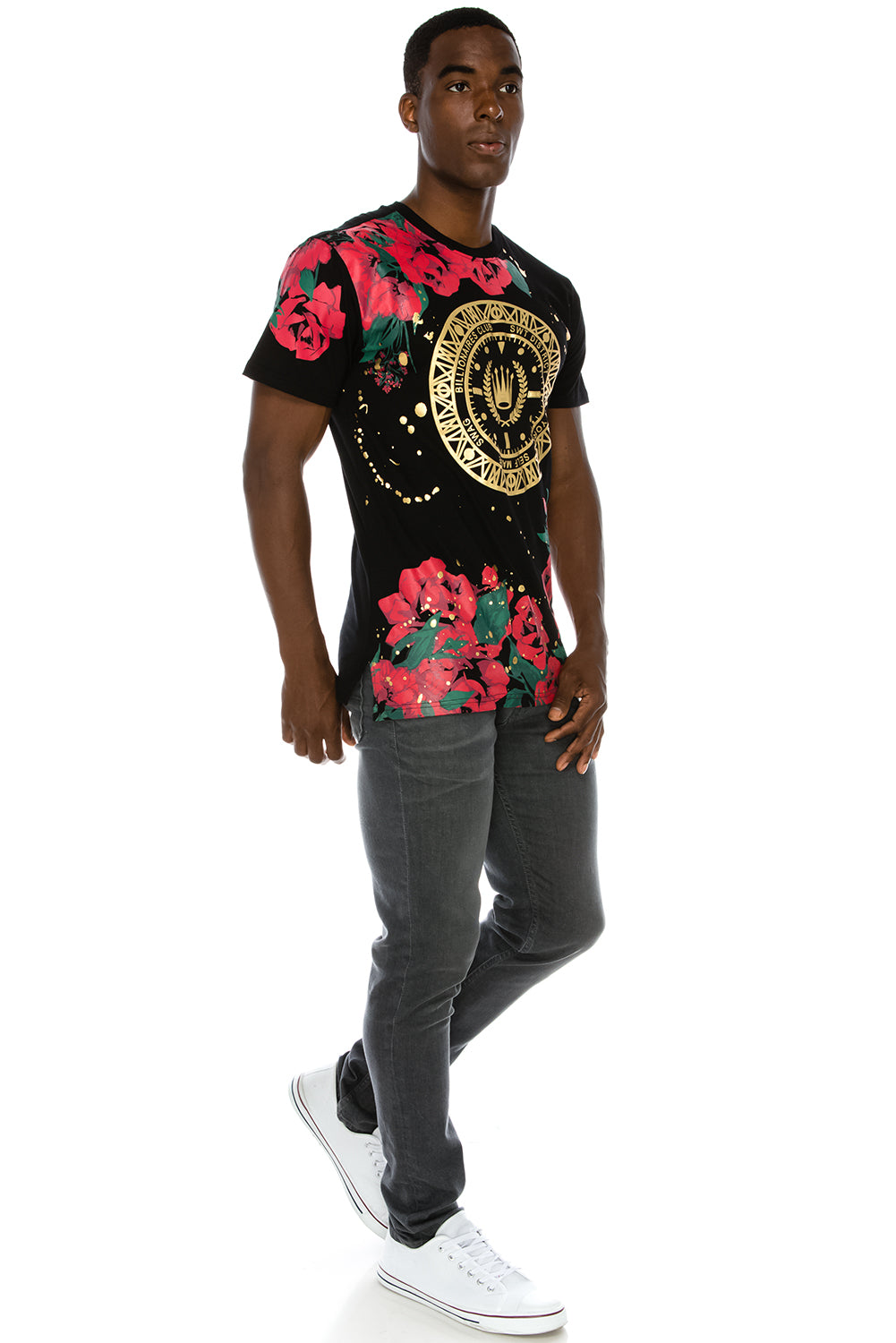 Floral Paint Splattered T-Shirt (Red)