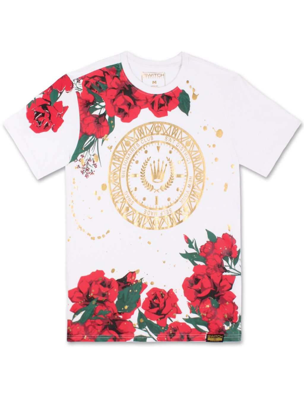Floral Paint Splattered T-Shirt (White)