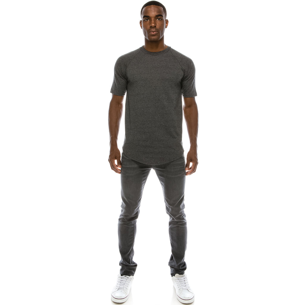 Heavyweight Drop Cut Longline T-Shirt - Charcoal