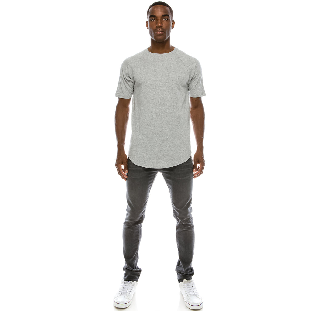 Heavyweight Drop Cut Longline T-Shirt - Grey