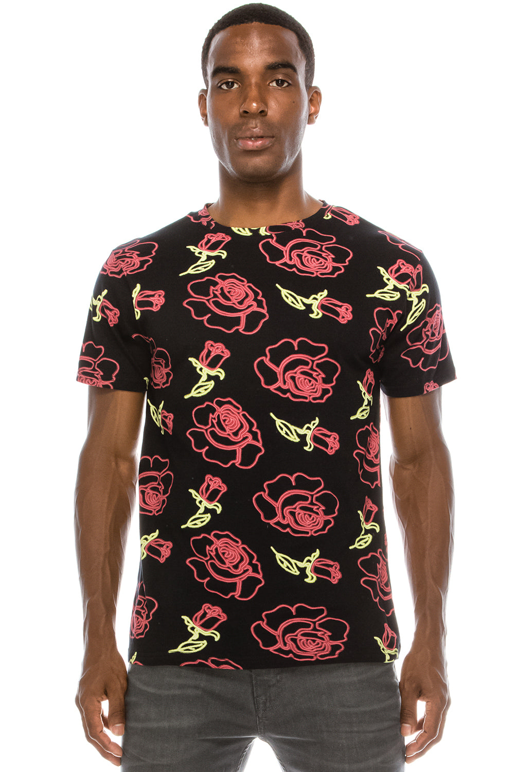 Rose Neon Sign Print T-Shirt