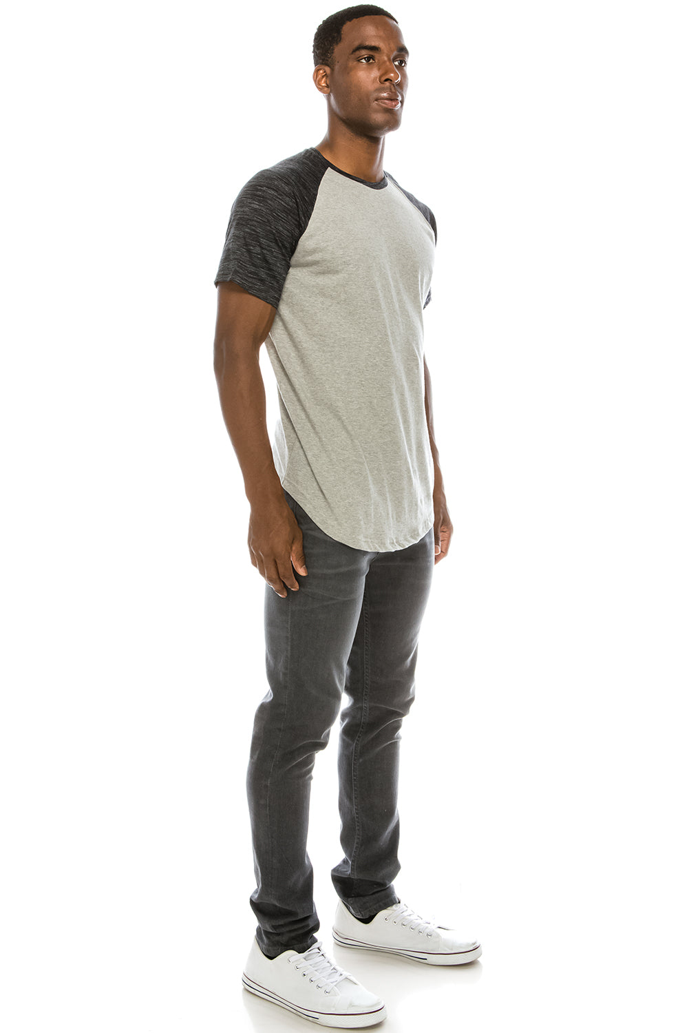 Grey Color Block Raglan T-Shirts