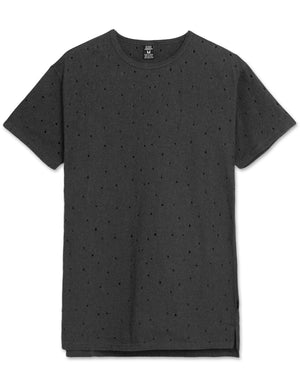 Hole Punched Distressed T-Shirt (Black)