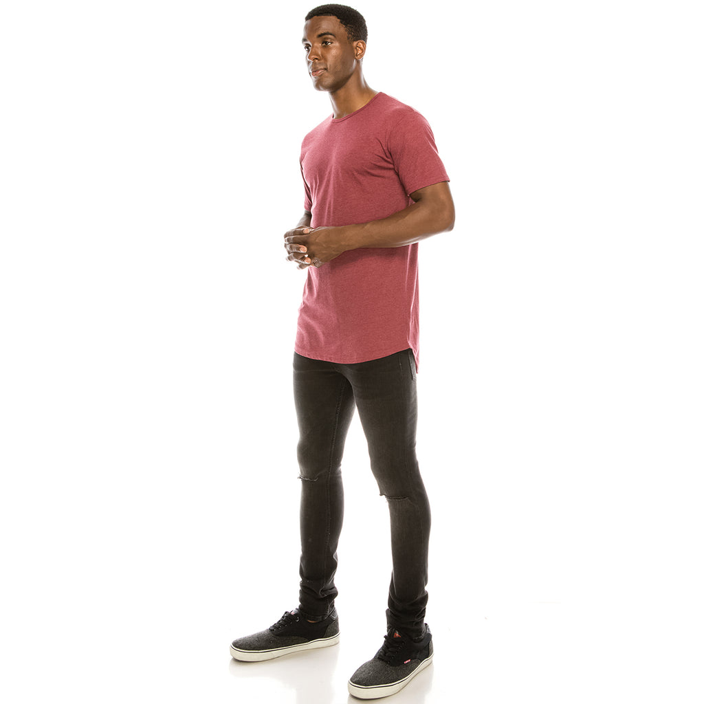 Drop Cut Longline T-Shirt - Heather Burgundy