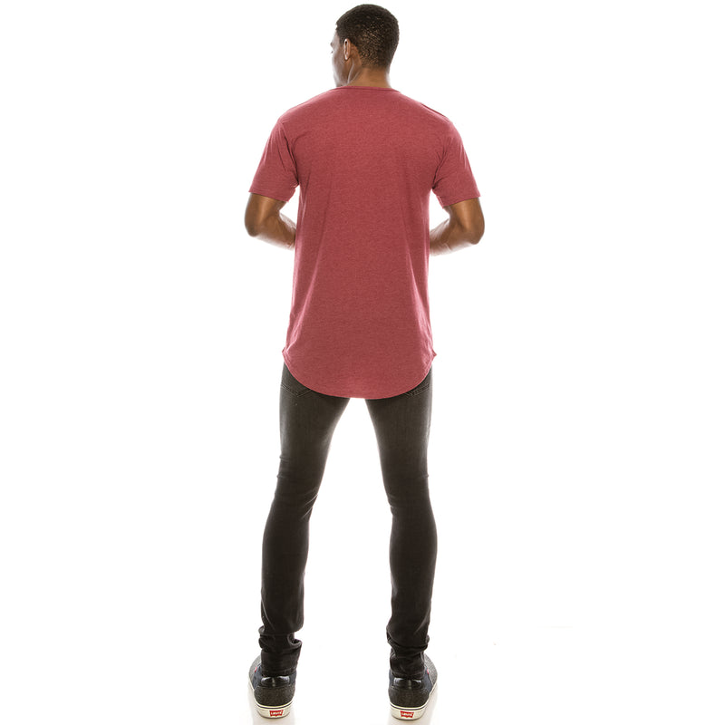 Drop Cut Longline T-Shirt (Burgundy H)