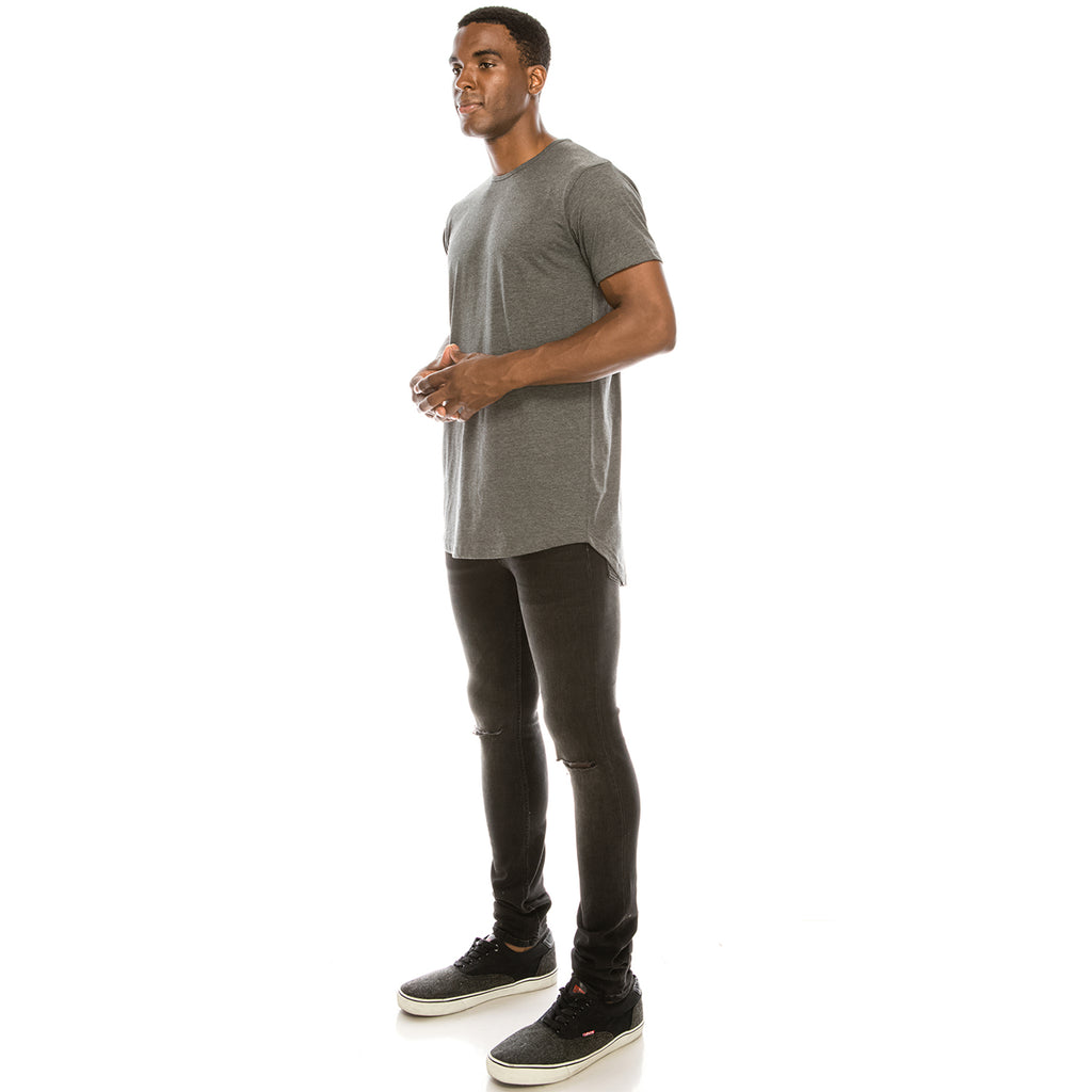 Drop Cut Longline T-Shirt - Charcoal